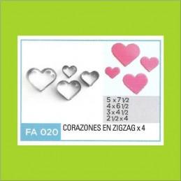 Cortante Metal Corazones Zig-Zag - Fa020 X    4 Unid. - Flogus Flogus - 1