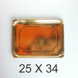 Bandeja De Carton Dorada Rectangular 25 X 34 X Unid.  - 1