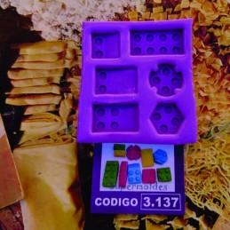 Molde Set De Fichas Tipo Lego - 3137 X Unid.  - 1